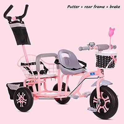 BABY STROLLER ZLMI El bebé Tres-rodado Carro de Dos Pasos del Ajuste del Asiento esPesó y agrandaron los neumáticos neumáticos Libres del Cuerpo 1-6 años,Pink,B