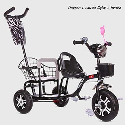 BABY STROLLER ZLMI El bebé Tres-rodado Carro de Dos Pasos del Ajuste del Asiento esPesó y agrandaron los neumáticos neumáticos Libres del Cuerpo 1-6 años,Black,D