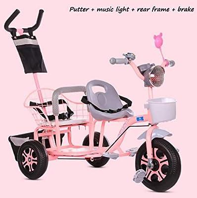 BABY STROLLER ZLMI El bebé Tres-rodado Carro de Dos Pasos del Ajuste del Asiento esPesó y agrandaron los neumáticos neumáticos Libres del Cuerpo 1-6 años,Pink,E