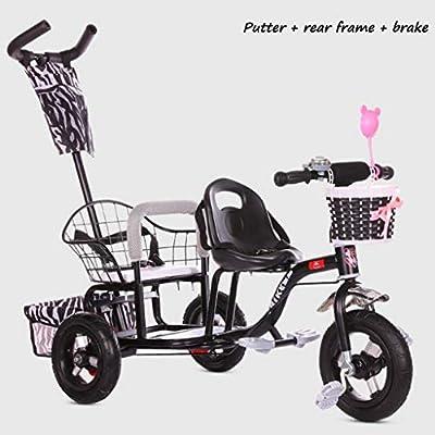 BABY STROLLER ZLMI El bebé Tres-rodado Carro de Dos Pasos del Ajuste del Asiento esPesó y agrandaron los neumáticos neumáticos Libres del Cuerpo 1-6 años,Black,B