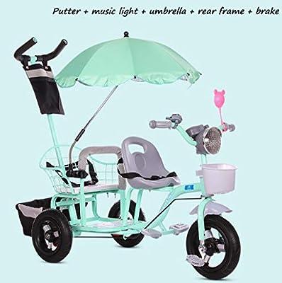 BABY STROLLER ZLMI El bebé Tres-rodado Carro de Dos Pasos del Ajuste del Asiento esPesó y agrandaron los neumáticos neumáticos Libres del Cuerpo 1-6 años,Green,F