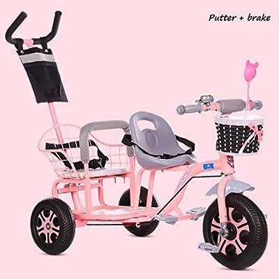 BABY STROLLER ZLMI El bebé Tres-rodado Carro de Dos Pasos del Ajuste del Asiento esPesó y agrandaron los neumáticos neumáticos Libres del Cuerpo 1-6 años,Pink,A