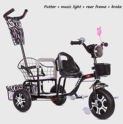 BABY STROLLER ZLMI El bebé Tres-rodado Carro de Dos Pasos del Ajuste del Asiento esPesó y agrandaron los neumáticos neumáticos Libres del Cuerpo 1-6 años,Black,E