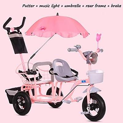BABY STROLLER ZLMI El bebé Tres-rodado Carro de Dos Pasos del Ajuste del Asiento esPesó y agrandaron los neumáticos neumáticos Libres del Cuerpo 1-6 años,Pink,F