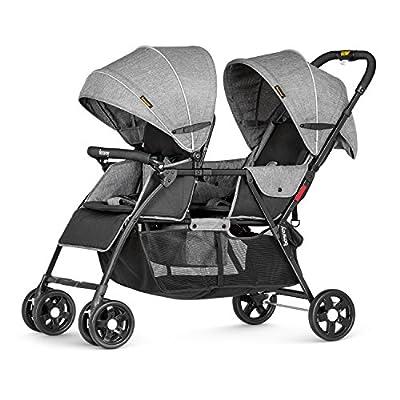 Besrey el transporte de niños hermanos cochecito doble cochecito sillas de paseo para 2 niños - con toldo y la función de cubierta plegable