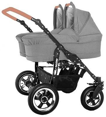 Carro gemelar 2en1. Capazos, sillas, accesorios. BBtwin. lino gris