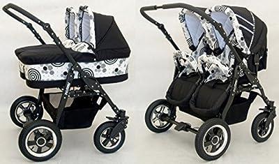 Carro gemelar completo. Capazos+sillas+accesorios. Negro+Blanco Circulos. Freestyle Twins