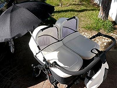 Carro gemelar completo. Capazos+sillas+sombrilla+accesorios. Marfil + negro