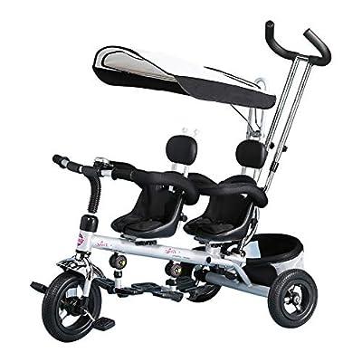 CHEERALL Triciclo de niños Trike, Triciclo de niños Doble 4 en 1 con Canasta, Manillar y toldo Desmontables, Bicicleta de 3 Ruedas para niños pequeños, Asiento Doble