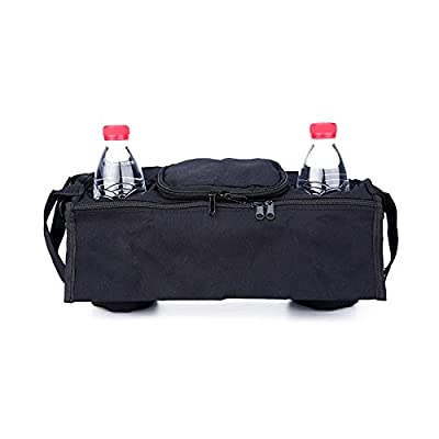 DaoRier Carrito organizador Buggy Bag universal Negro Bolso cambiador para bebé Cochecito con soporte para bebidas Taza plana