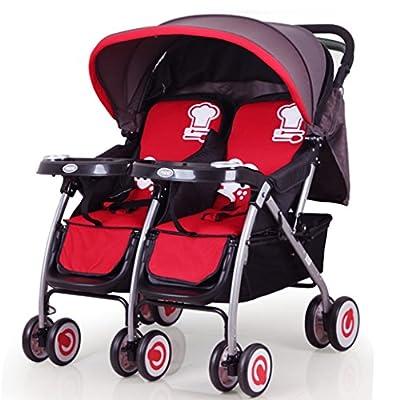 JM Carro de bebé Cochecito de bebé doble sentado reclinable plegable Carro de dos ruedas Cochecito doble Cochecito de bebé