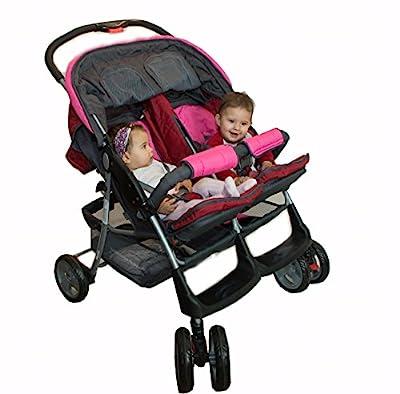 Lujoso tandem-cochecito para gemelos rosa - BambinoWorld